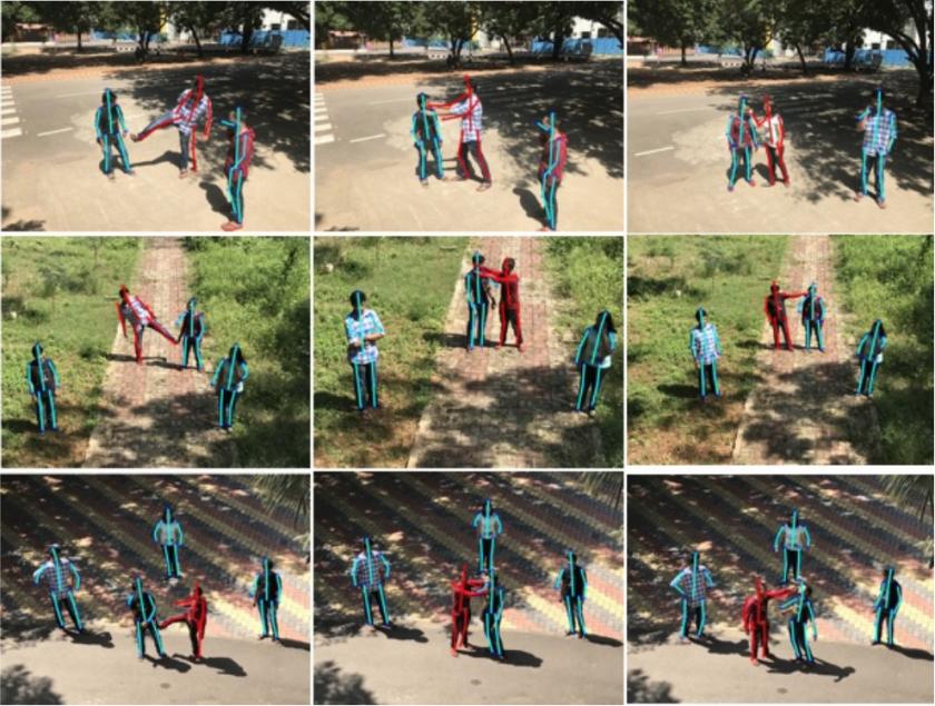 Images issues de l'étude des chercheurs, les volontaires entraînant l'algorithme à reconnaître les comportements violents.