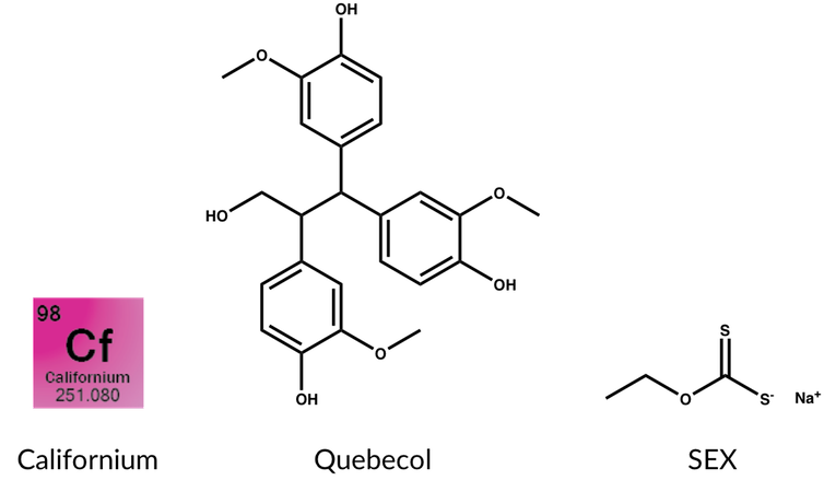 Californium (Cf), Quebecol (molecule found in maple syrup), SEX (Sodium ethyl xanthate)