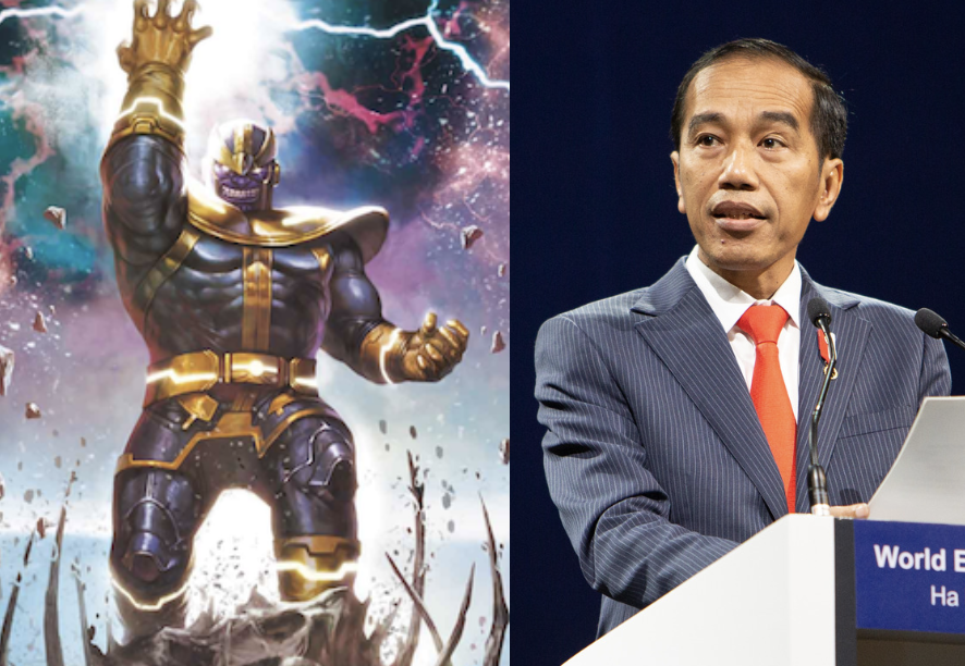President Joko Widodo likened himself to an Avenger fighting for free trade