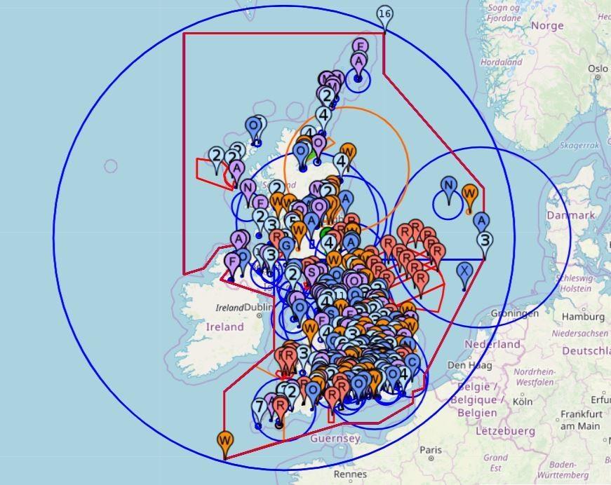 un mapa que muestra las restricciones de vuelo
