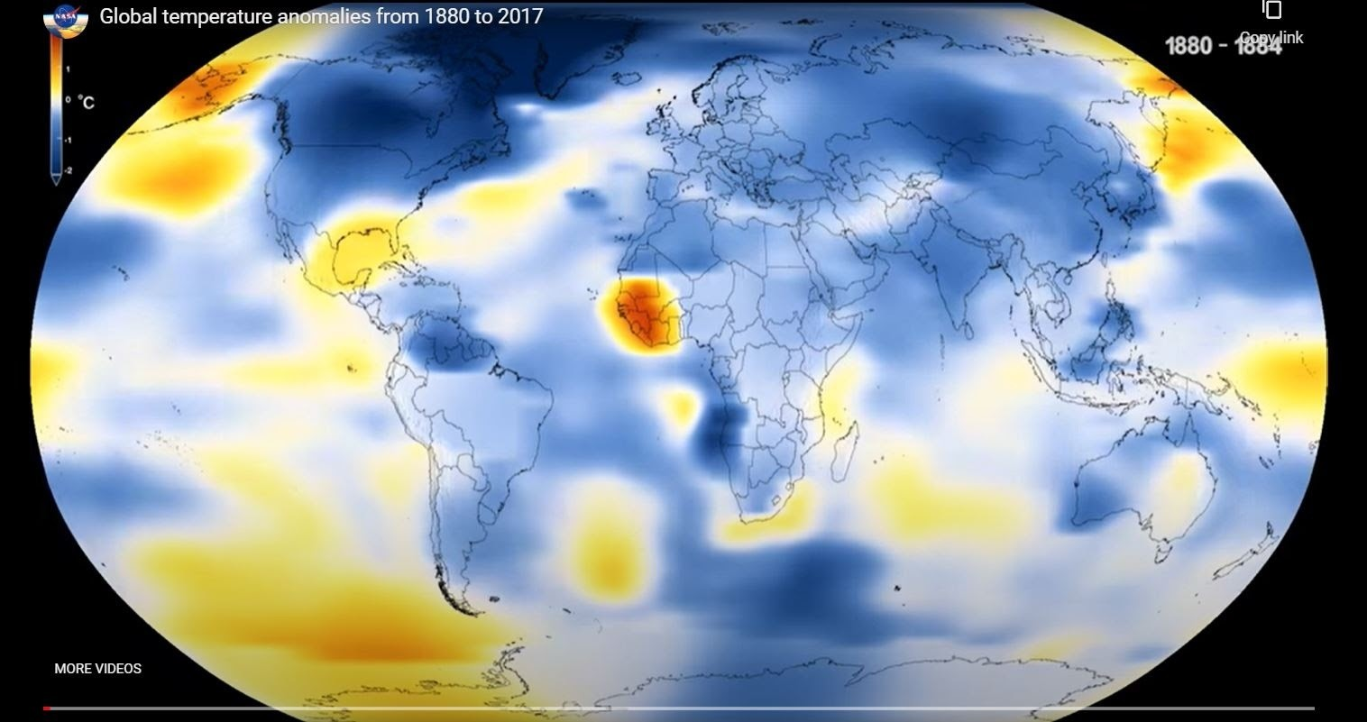a map of the world showing Global temperature anomalies in 1880-1884