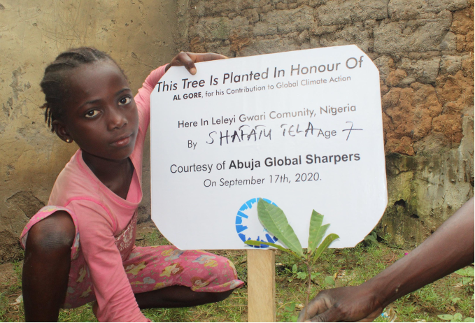 One of the economic trees planted by young Shafatu Tela in honour of Al Gore for his contribution in global climate action.