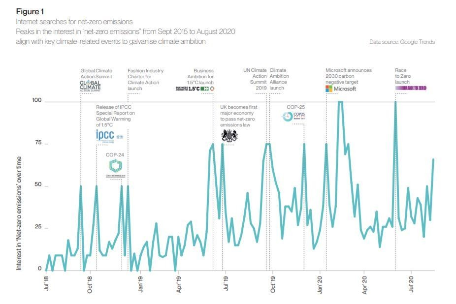 Internet searches for net-zero emissions
