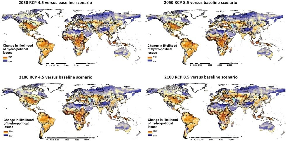 Change in the likelihood of hydro-political issues considering the four future climate change and population scenarios