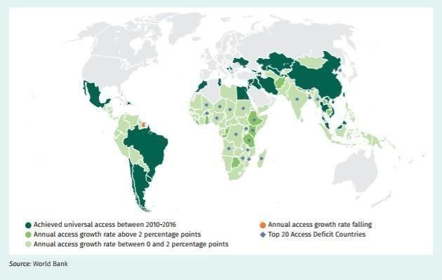 Augmentation annuelle du taux d'accès à l'électricité en 2010-2016 dans les pays où la demande d'électricité dépasse l'offre.