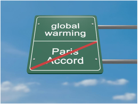 Environment Protection Road Sign: Global Warming And Withdrawal From The Paris Accord.