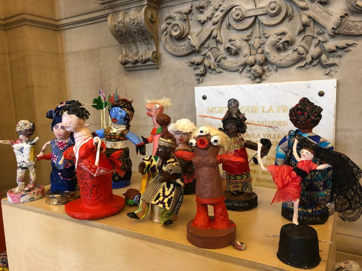 Papier marche dolls from an arts therapy class at the women's shelter in Paris city hall, France, April 12, 2019.