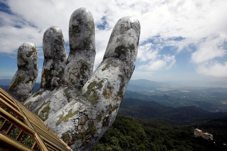 A giant hand structure at the Gold Bridge is seen on Ba Na hill near Danang city, Vietnam August 1, 2018. REUTERS/Kham