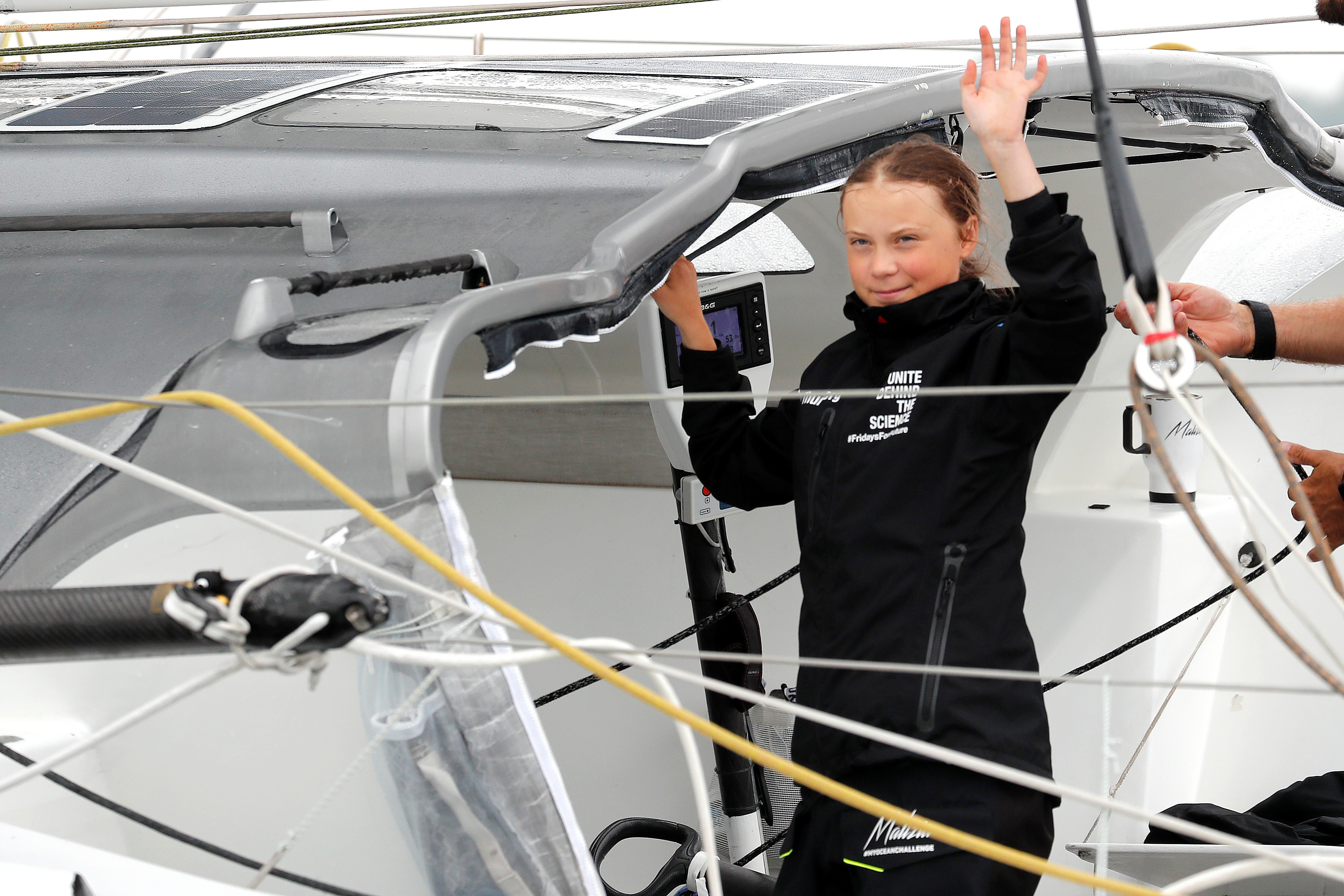 Swedish 16-year-old activist Greta Thunberg sails on the Malizia II racing yacht in New York Harbor as she nears the completion of her trans-Atlantic crossing in order to attend a United Nations summit on climate change in New York, U.S., August 28, 2019. REUTERS/Mike Segar - RC1EA15BEDC0
