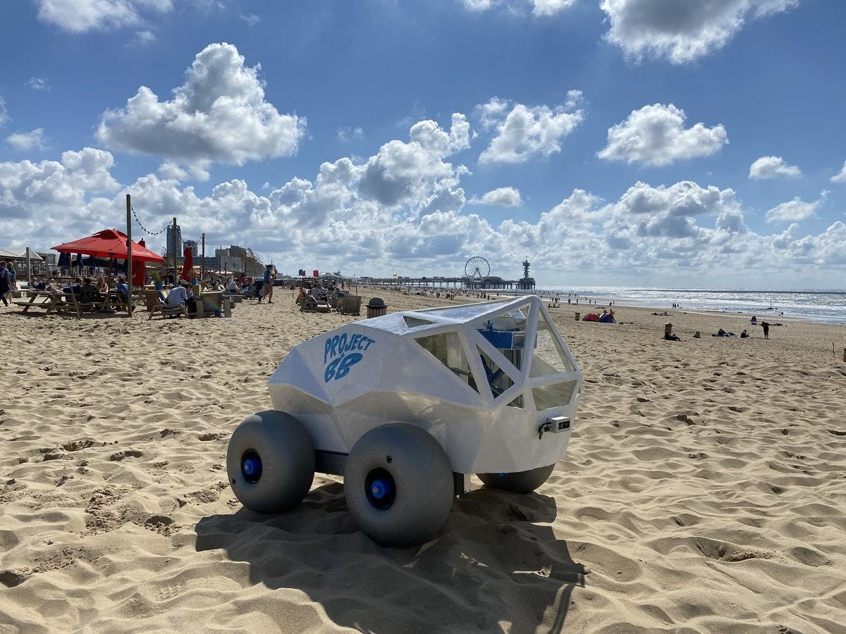 a picture of the BeachBot on a sandy beach