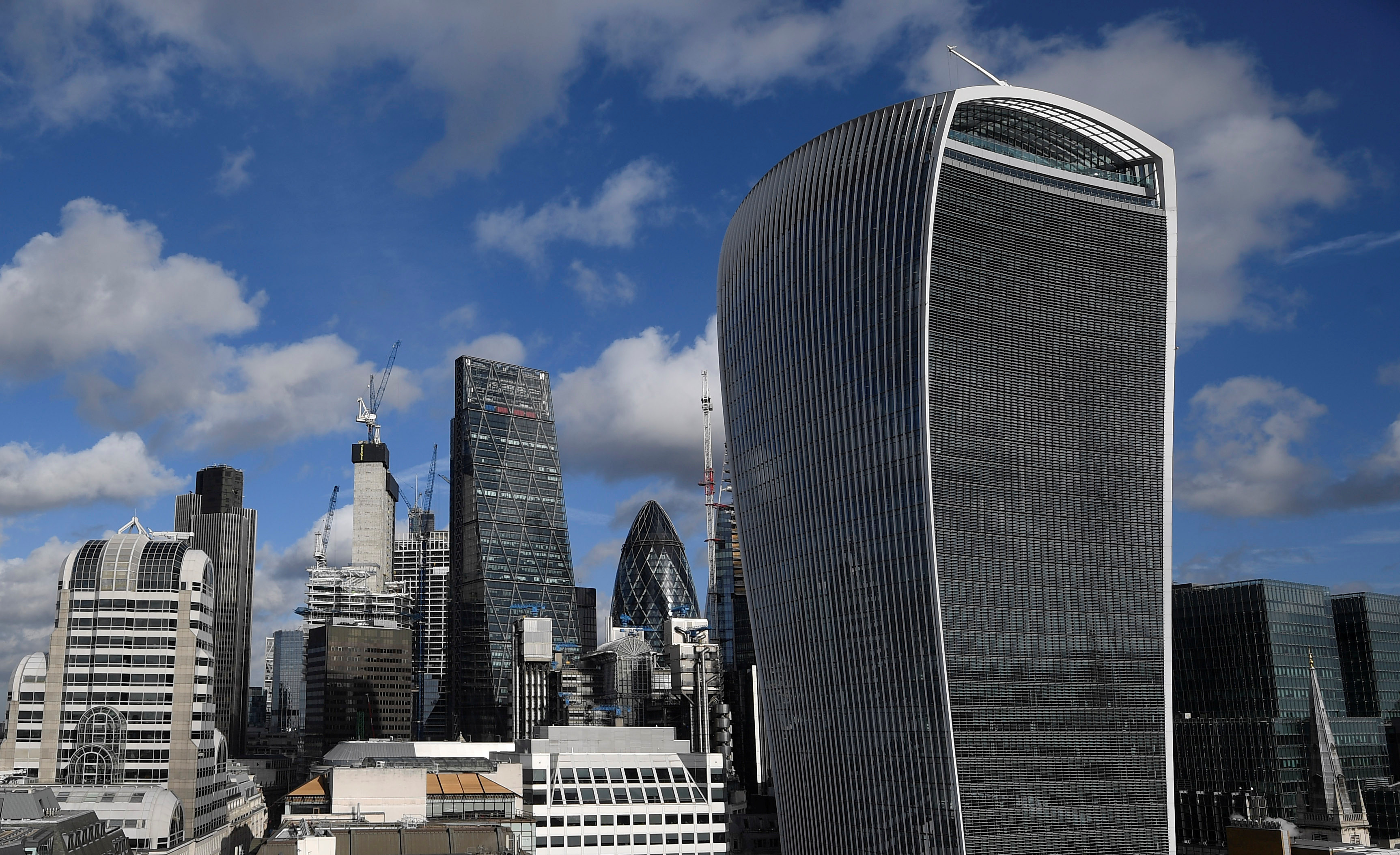 The City of London financial district is seen with office skyscrapers commonly known as 'Cheesegrater', 'Gherkin' and 'Walkie Talkie' seen in London, Britain, January 25, 2018. Picture taken January 25, 2018.  REUTERS/Toby Melville - RC1B2AEA7FA0