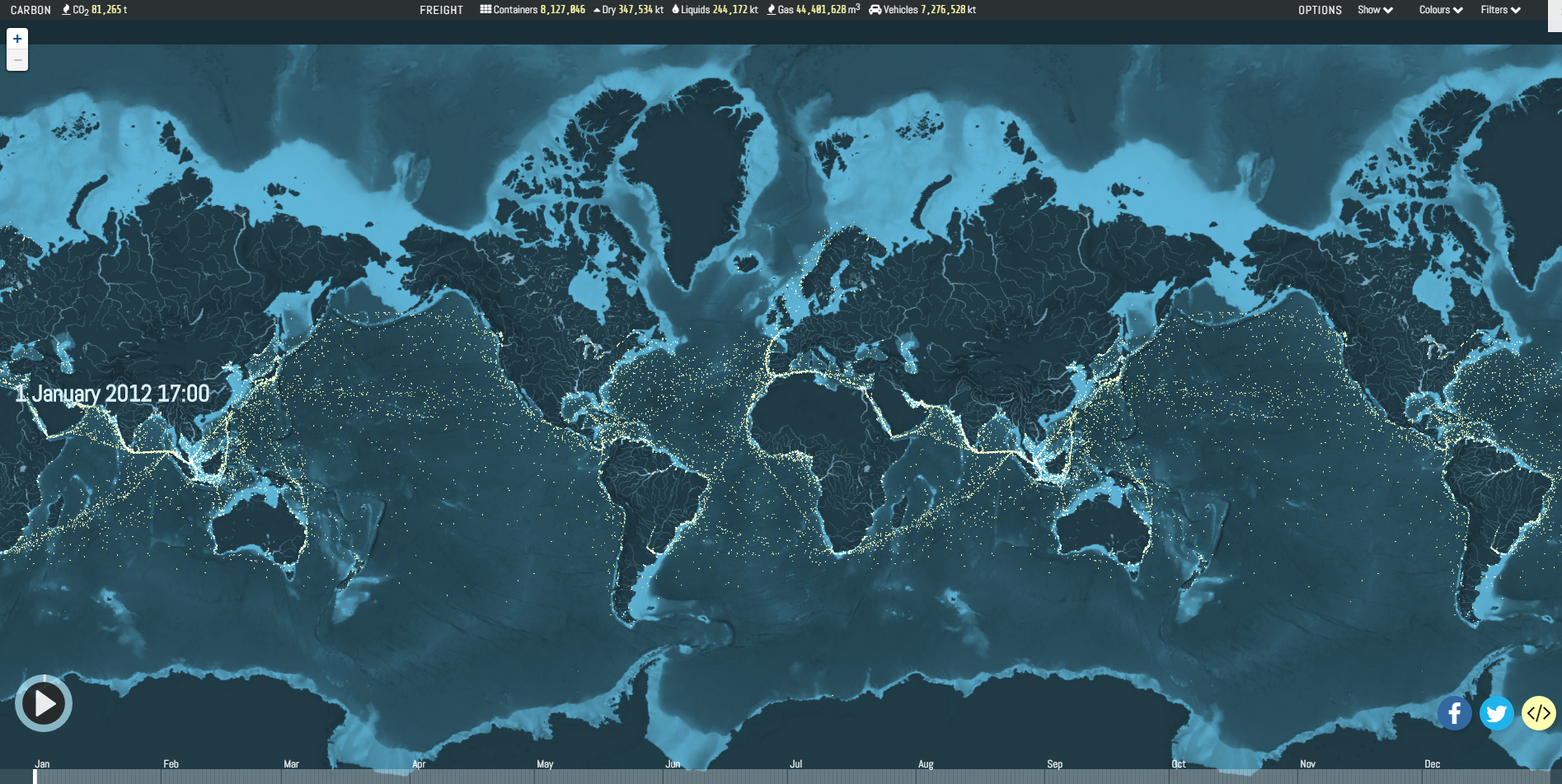 2012 global shipping routes mapped