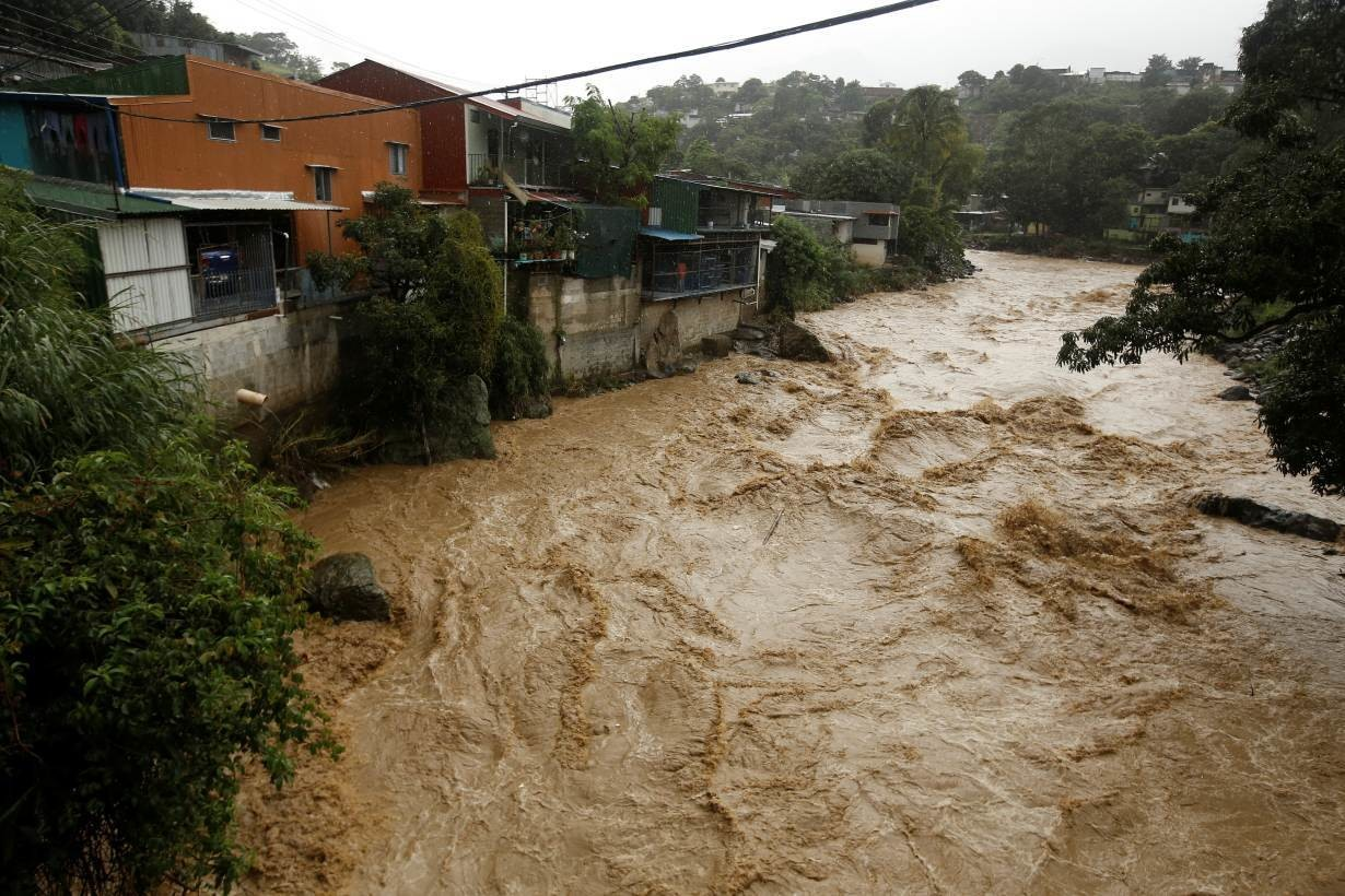 The flooded Tiribi river is seen during heavy rains of Tropical Storm Nate that affects the country in San Jose, Costa Rica October 5, 2017.