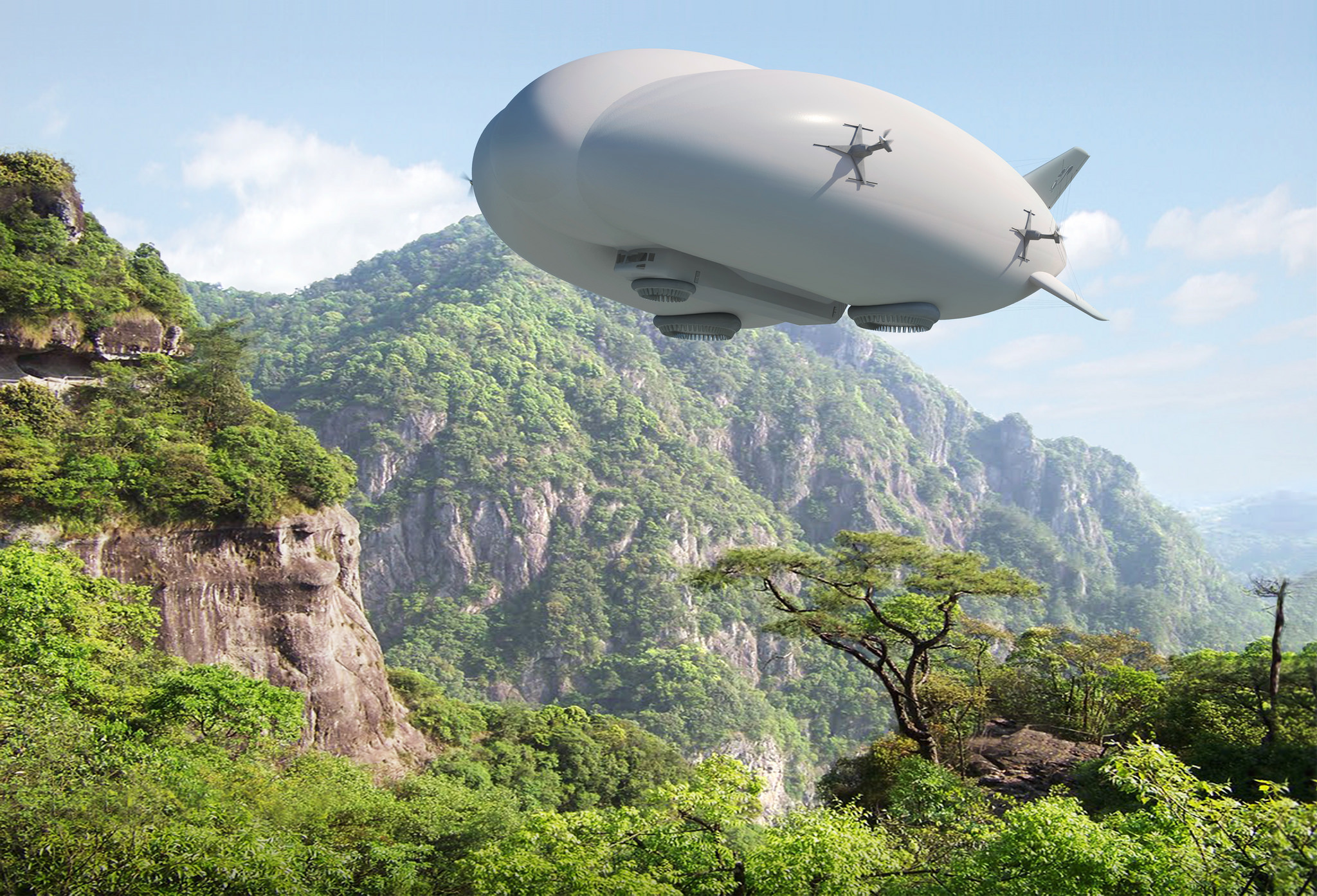 No roads, no problem. This artist rendering depicts the operational 20 ton Hybrid Airship in a remote area. The Hybrid Airship can deliver heavy cargo and personnel to virtually anywhere – water or land, in normal flying weather conditions – with little to no infrastructure.