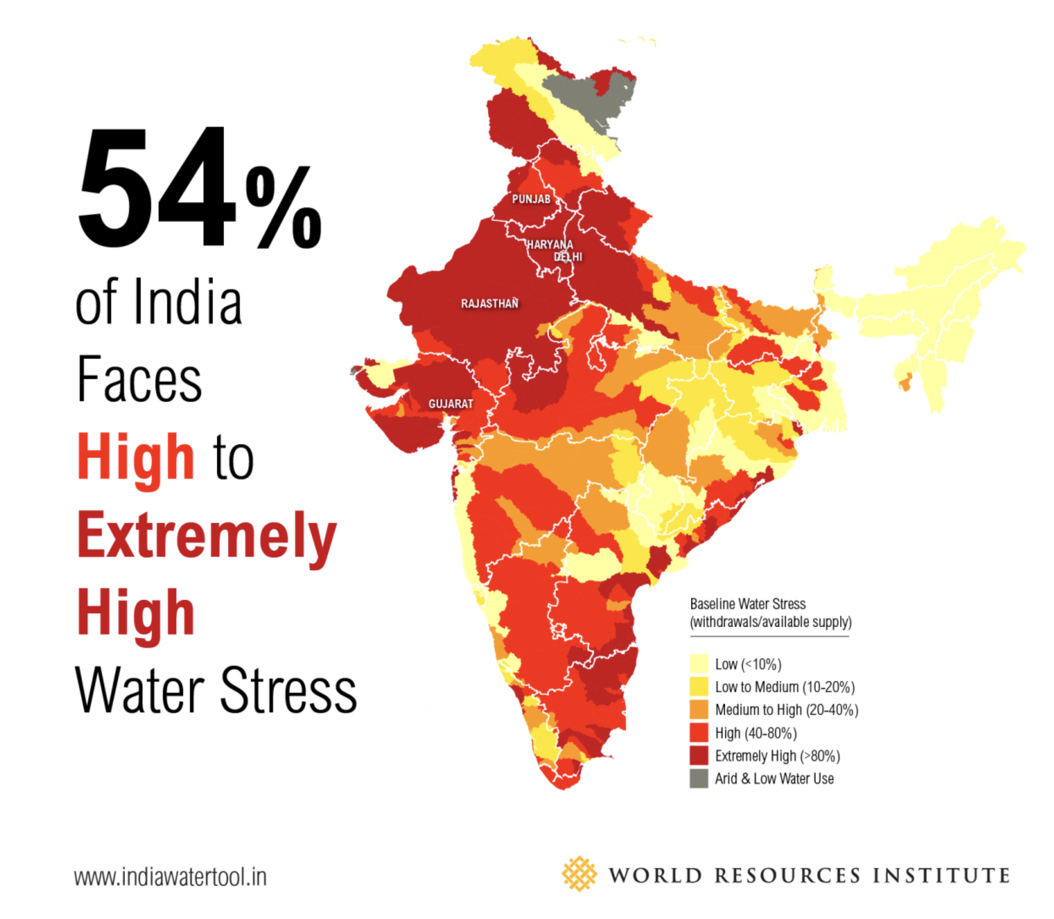 More than half of India faces high levels of water stress today