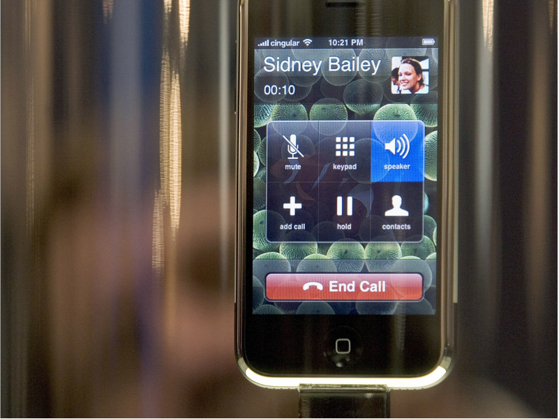 The first iPhone, on display at Macworld in 2007.