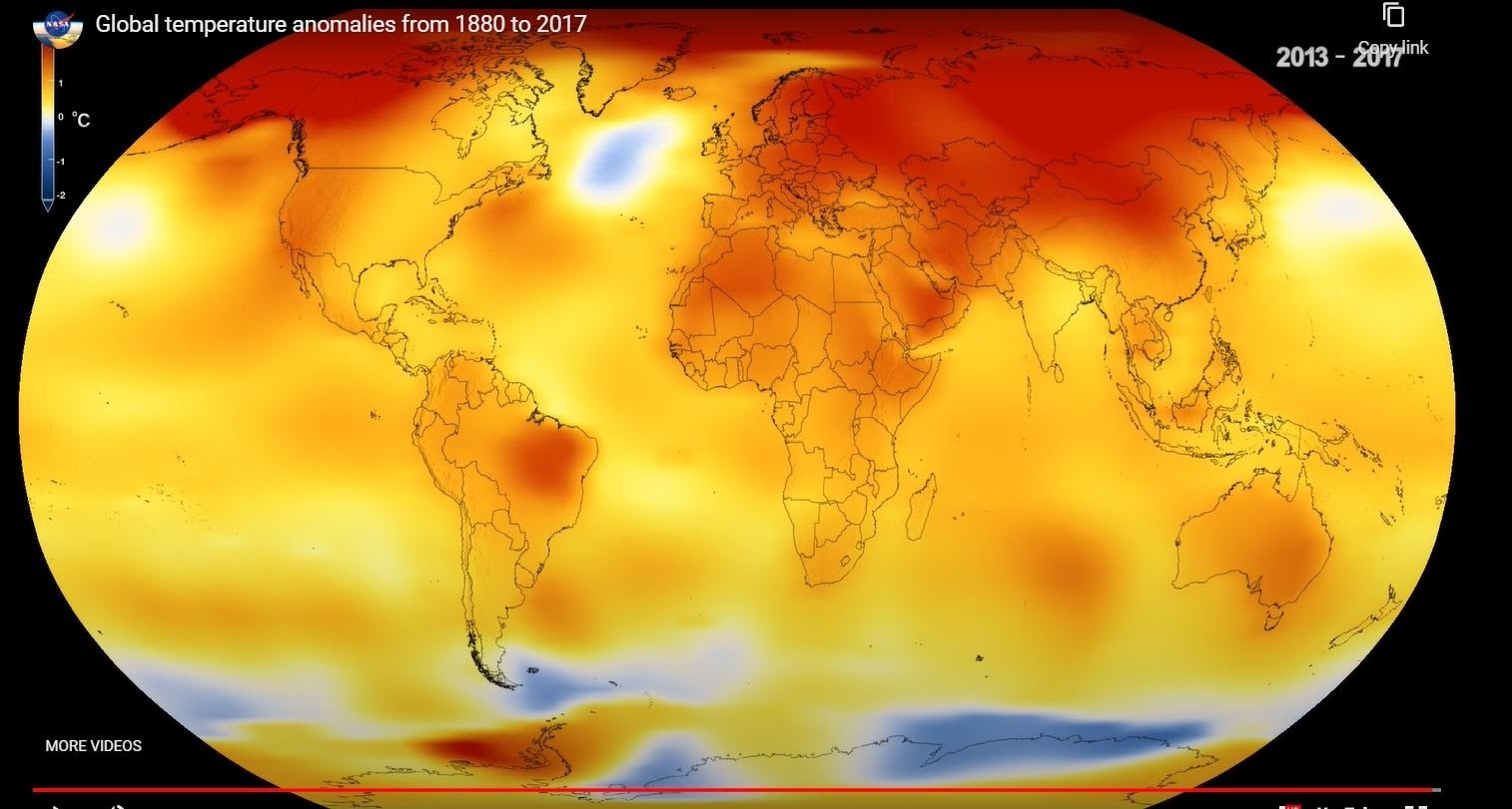 a map of the world showing global temperature anomalies in 2013-2017