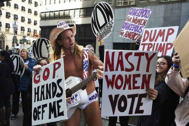 Women protest against the election of Donald Trump
