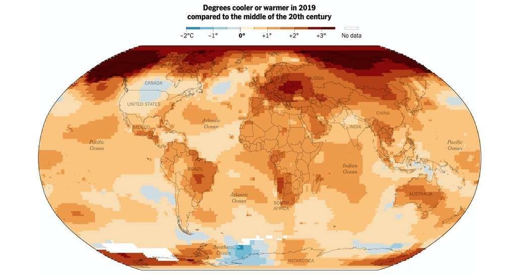 Peu d'endroits de notre Planète ont connu, en 2019, des températures moyennes inférieures – ou égales – à celles du milieu du XXe siècle.