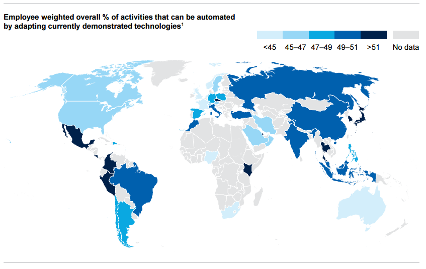 nearly half of current jobs could be automated by 2055 according to a new report world