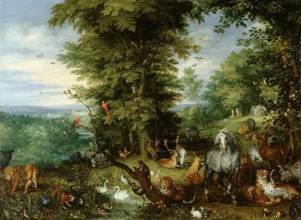 Les arbres du jardin d'Éden. Image du tableau « Adam et Ève au Paradis » par Jan Bruegel l'Ancien.