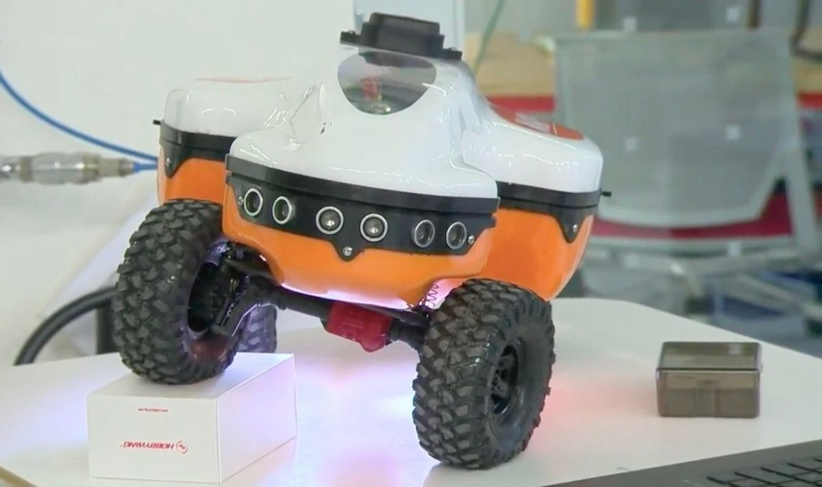 a picture of the MAPP robot displaying its ability to move its wheels across uneven terrain