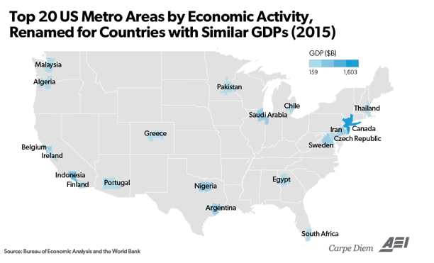 Top 20 US metro areas by economic activity renamed for countries with similar GDPs (2015)
