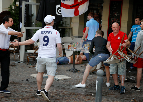 The ugly side of the beautiful game: violence between Russian and English fans erupted at the start of the tournament