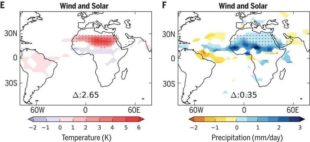 L'installation massive de panneaux solaires et d'éoliennes dans le désert du Sahara ferait augmenter la température moyenne de 2,65 °C et les précipitations de 35 millimètres par jour.