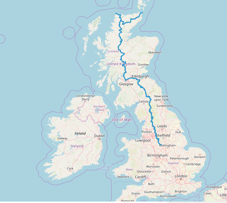 The trail runs from the Peak District in England to Cape Wrath or John O'Groats in Scotland.