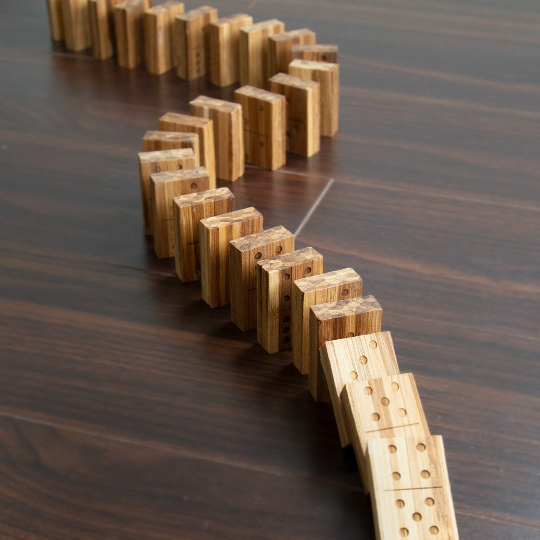 a set of wooden dominoes