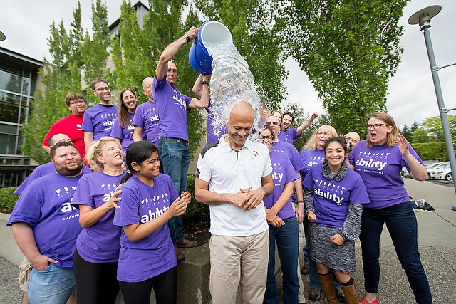 CEO Satya Nadella takes part in the Ice Bucket Challenge at Microsoft's 2014 Hackathon