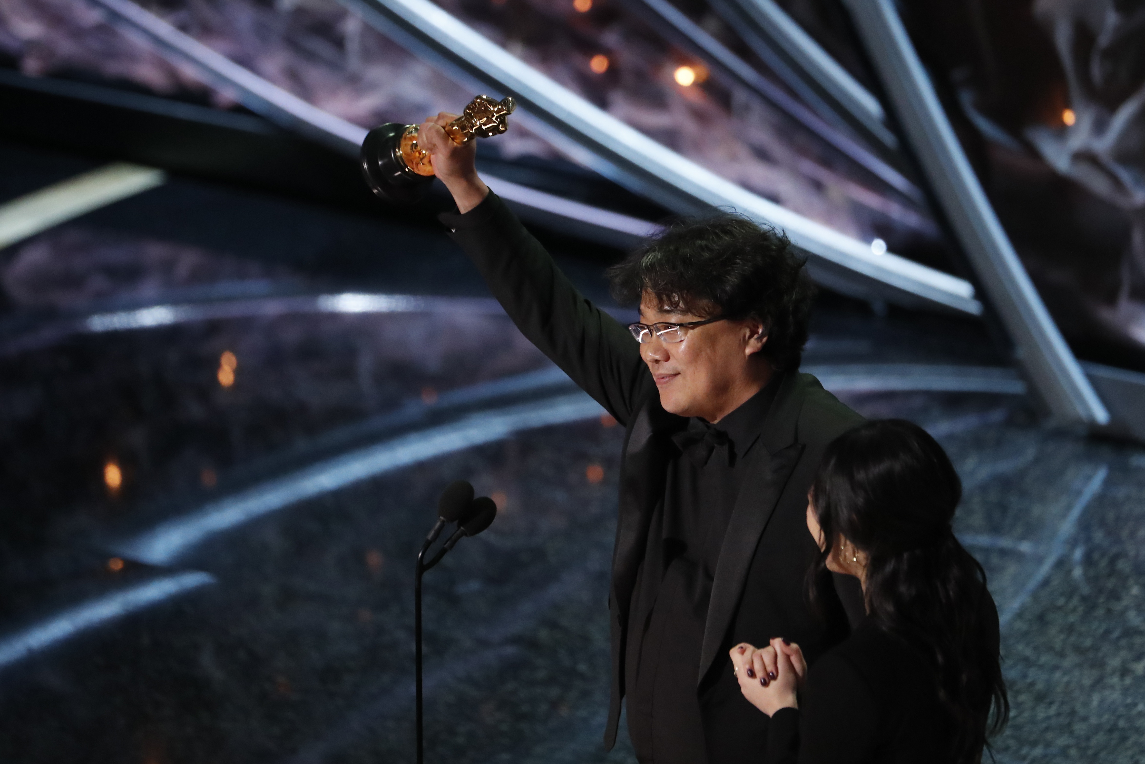 Director Bong Joon-ho accepts the Oscar for Best Foreign Language Film for
