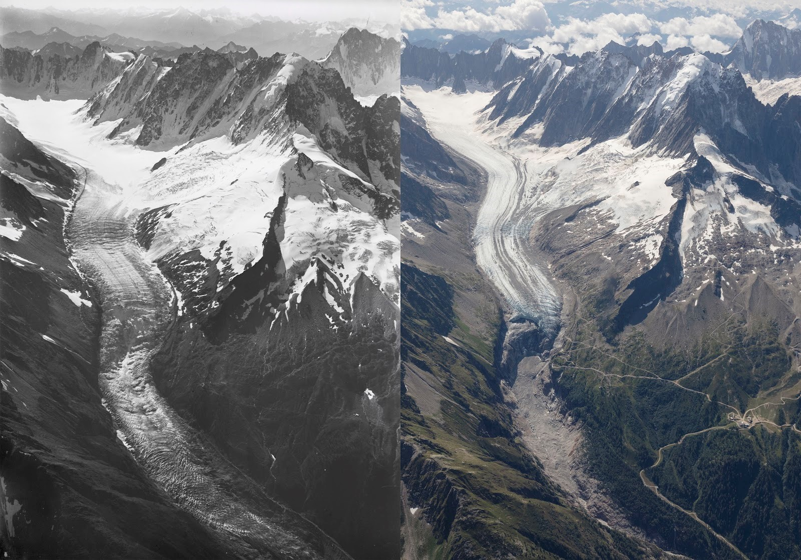 Then and now: Mont Blanc's Argentière glacier.