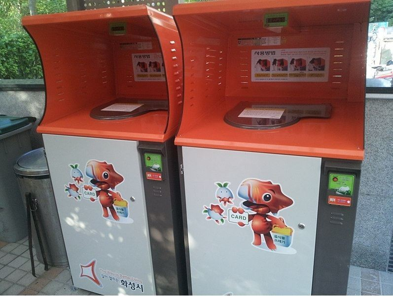 High-tech food waste recycling machines in Seoul