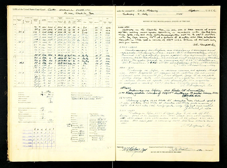 This logbook page from the US Coast Guard ship Cutter was written July 9, 1955, in the Chukchi Sea.