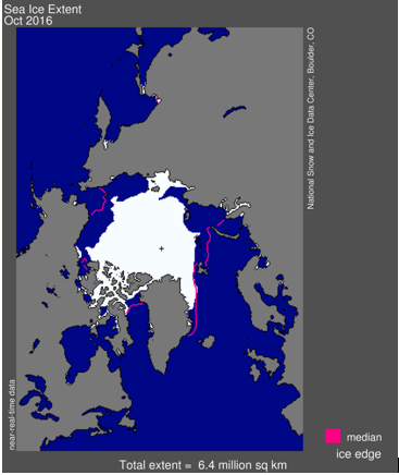 Sea ice extent (Oct 2016)