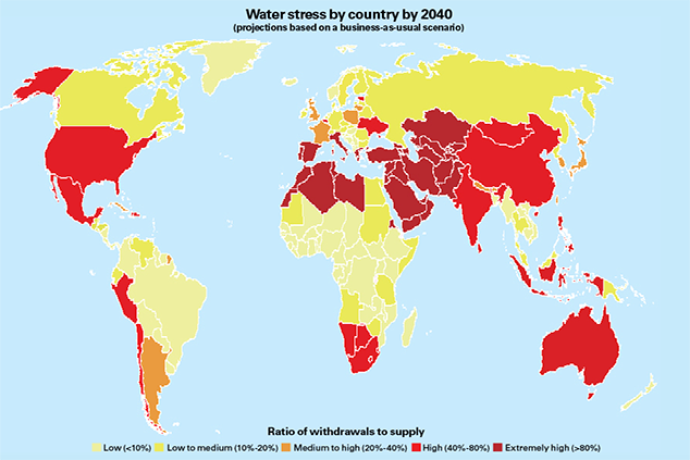 Predicted global water stress by 2040.