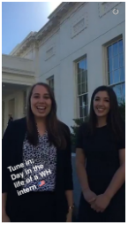A snapchat showing a 'day in the life of a White House intern'.