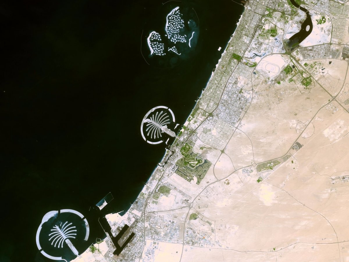 Palm islands in  Dubai from space