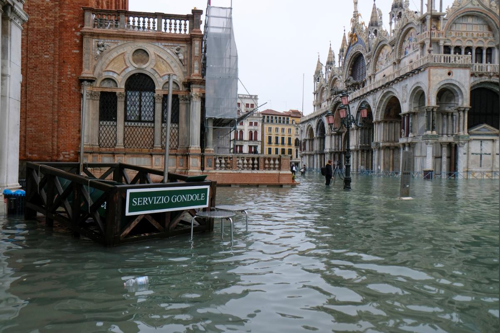 A flooded St Mark's square is pictured during exceptionally high water levels in Venice, Italy November 13, 2019.