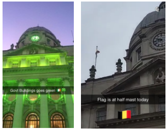 The Irish government snapchats, showing St Patrick's day celebrations and condolences for the terrorist attacks in Brussels.
