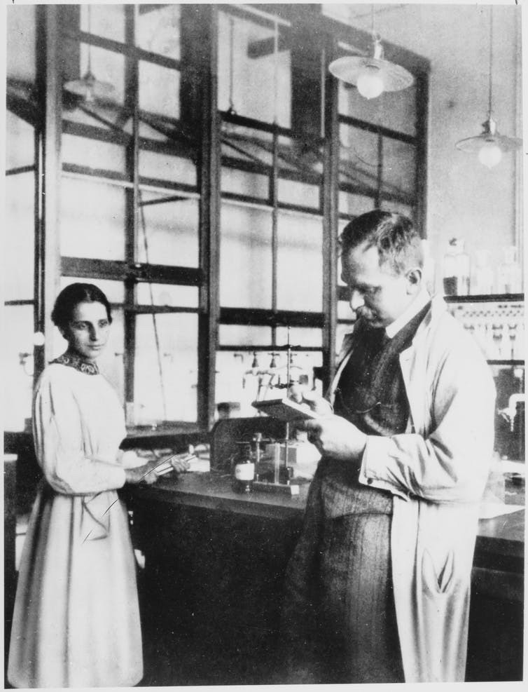 Lise Meitner with Otto Hahn.