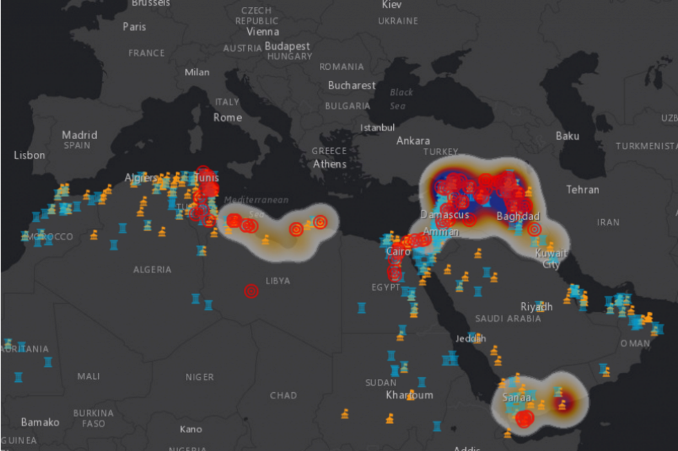 This map shows where some of the world's cultural heritage sites are at risk from terrorists.