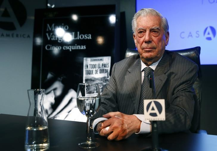 Mario Vargas Llosa, Peruvian writer and recipient of the 2010 Nobel Prize in Literature, attends the presentation of his latest novel