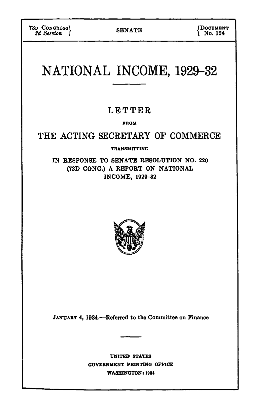 The first page of the document presented by Kuztnets to Congress