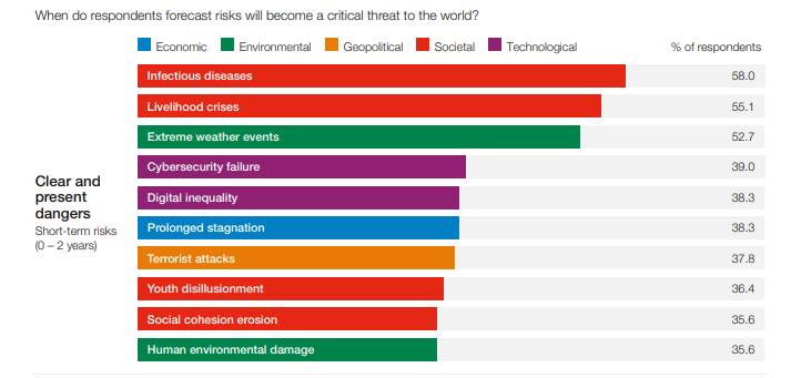 Short-term risks identified by the Global Risks Report 2021