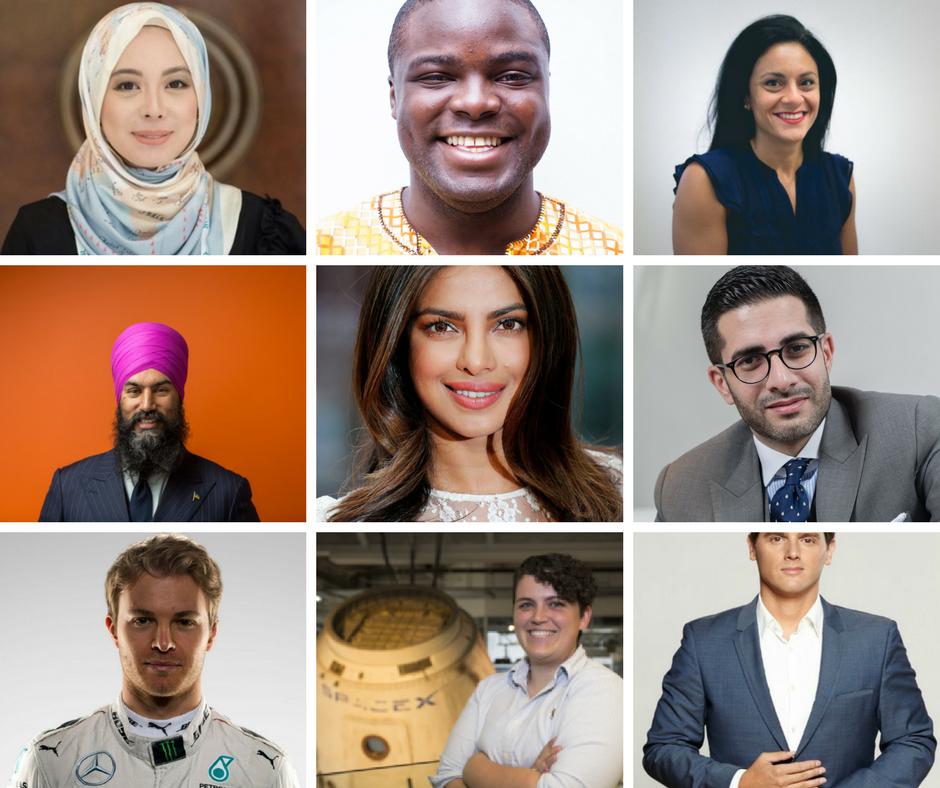 Vivy Yusof, Iyinoluwa Aboyeji, Heba Aly, Jagmeet Singh, Priyanka Chopra, Faisal Abbas, Nico Rosberg, Joy Dunn and Albert Rivera Díaz.