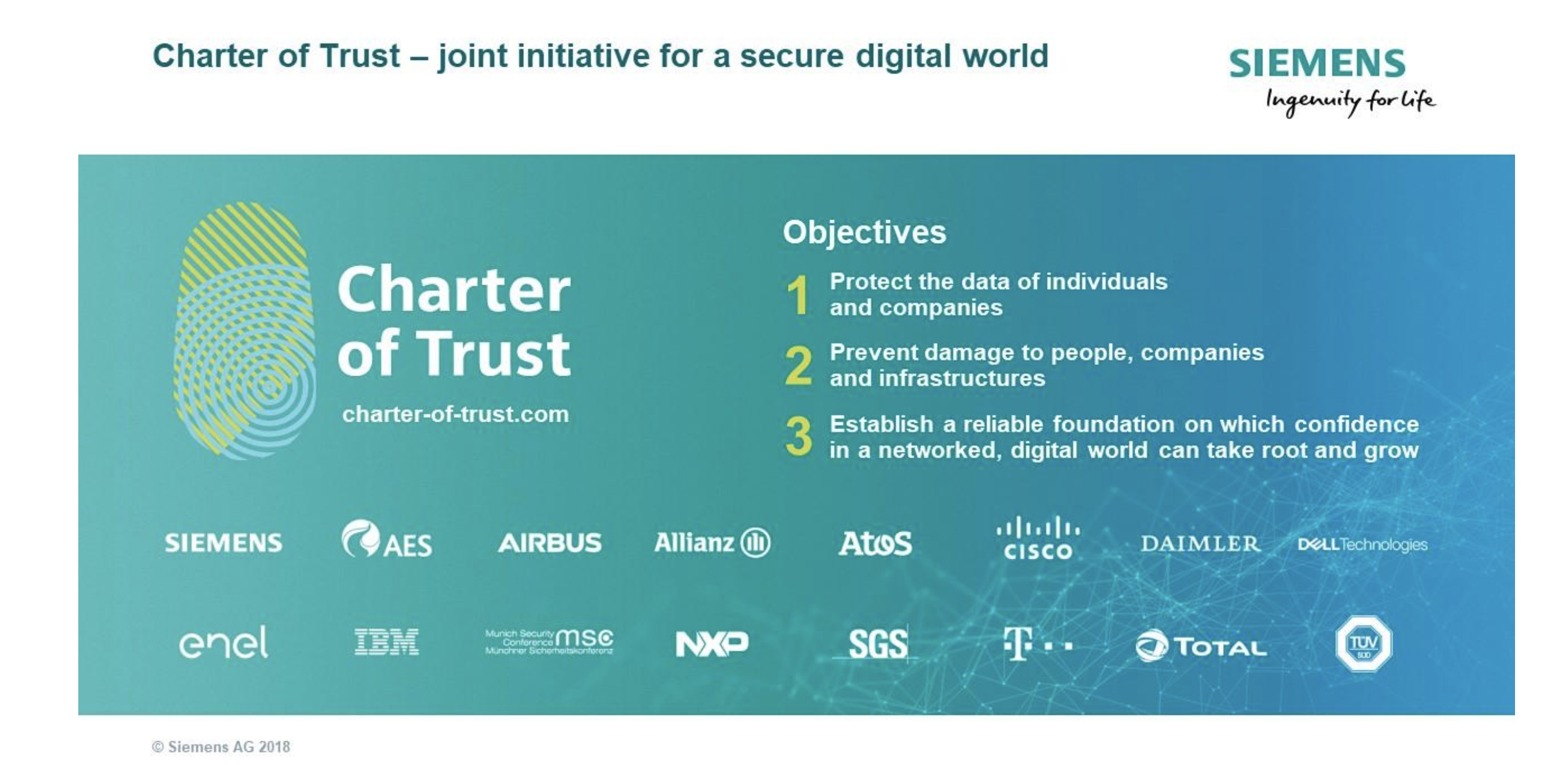 16 global companies have signed up to Siemens' Charter of Trust