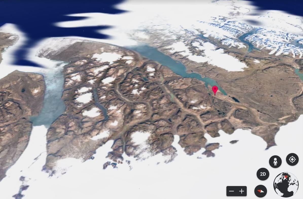 image of ice sheets around Mylius-Erichsen Land, Greenland, in 2020